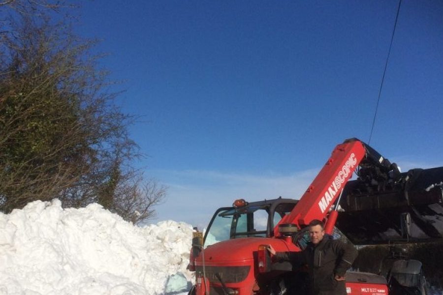 Snow clearance in Abergavenny, Monmouthshire